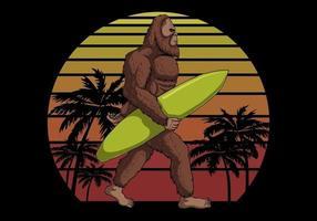 Bigfoot holding a surf board near sunset retro vector illustration