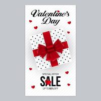 Valentines Day Sale Poster Design with Gift Box vector