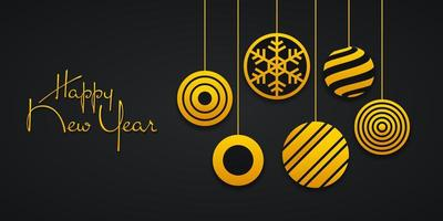 banner de año nuevo con bolas de adorno abstracto vector