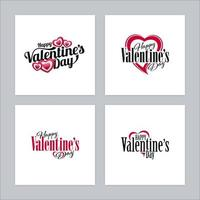 Happy Valentines Day Calligraphic Logos with Heart Shapes vector
