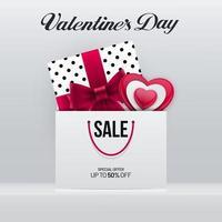 diseño de cartel de venta de san valentín con caja de regalo y bolsa vector