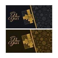 tarjetas de felicitación de año nuevo de lujo con cajas de regalo vector