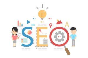 optimización seo para sitio web y sitio web móvil vector