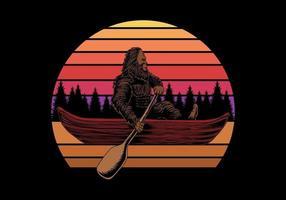 Bigfoot in canoe near sunset retro vector illustration