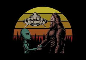 Bigfoot and alien conspiracy at sunset retro vector illustration