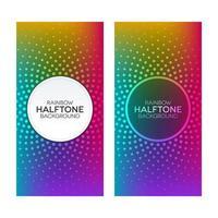 Rainbow gradient banners with halftone textures set vector