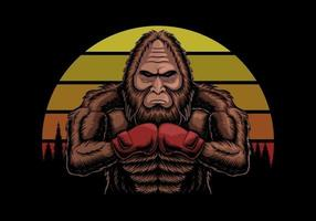 Bigfoot wearing boxing gloves at sunset retro vector illustration