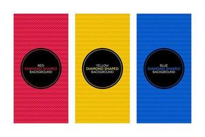 Colorful banners with diamond shaped textures set vector