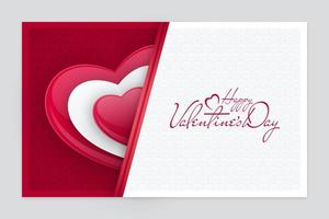 Paper Cut Valentines Day Card with Bead Heart Shape vector