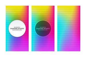 Banners degradados de arco iris con texturas en forma de diamante. vector