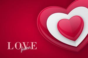 Love banner design with 3D Bead Heart Shape vector