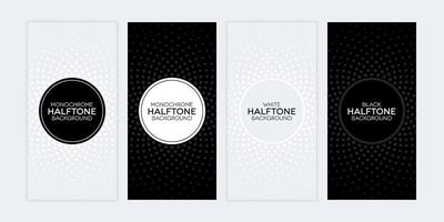Black and white banners with halftone textures set vector