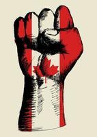 espíritu de una nación, bandera canadiense con dibujo de puño vector