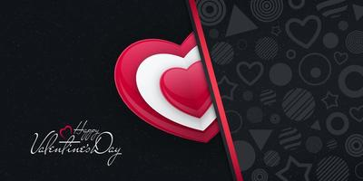 Valentines Day Card with Heart Shape and Various Patterns vector