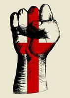espíritu de una nación, bandera británica con dibujo de puño arriba vector