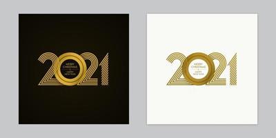 conjunto de tarjetas de navidad y año nuevo superpuestas 2021 de lujo vector