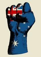 espíritu de una nación, bandera australiana con dibujo de puño arriba
