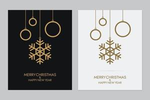 Hanging Snowflakes with Rings Christmas Greeting Card Set vector