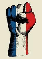 espíritu de una nación, bandera francesa con dibujo de puño arriba vector