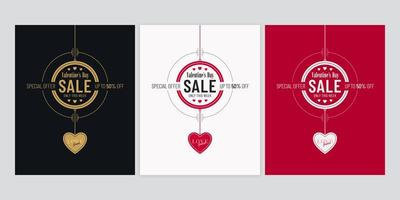 Valentines Day Sale Poster Set with Heart Pendants Set vector