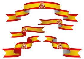 Spain flag ribbon set vector