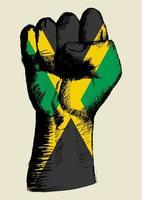 espíritu de una nación, bandera de jamaica con el puño arriba boceto vector
