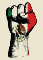 espíritu de una nación, bandera mexicana con dibujo de puño arriba