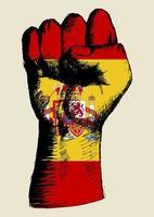 espíritu de una nación, bandera española con el puño arriba boceto vector