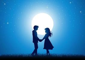 Young couple holding hands under the moonlight vector
