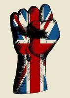 espíritu de una nación, bandera del Reino Unido con el puño en el bosquejo vector