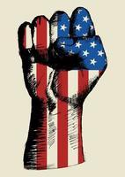 espíritu de una nación, bandera de Estados Unidos con el puño en el bosquejo