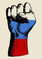 espíritu de una nación, bandera rusa con dibujo de puño arriba vector