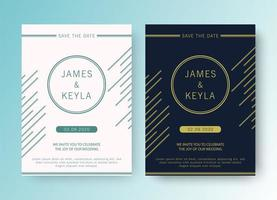 Wedding save the date with elegant abstract lines set vector