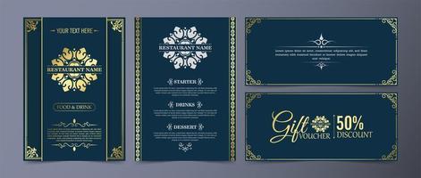 Fancy restaurant menu with logo ornament set vector