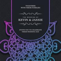 Gradient wedding invitation mandala template