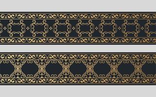 Set golden ornamental border design set vector