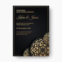 Mandala style luxury dark wedding invitation template vector