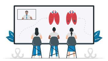 los estudiantes estudian sobre el cáncer de pulmón. El mes de concientización sobre esta enfermedad es noviembre. aprender en línea. el vector aislado está en estilo plano.