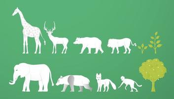 Wildlife animals. Minimalism deign in paper cut and craft style. Art digital craft for world environment day. vector