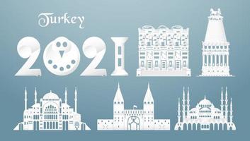 conjuntos de los principales monumentos famosos de Turquía. vector
