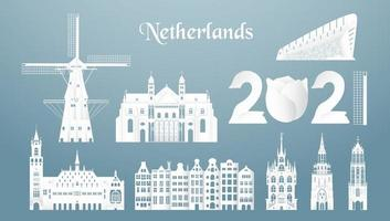 conjuntos de los principales monumentos famosos de los Países Bajos. vector