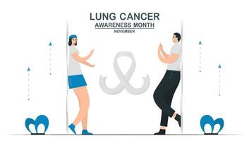 Lung cancer awareness month, November. Community about lung cancer. Graphic for banner, poster, background and advertisments. Flat vector illustration isolated on white background.