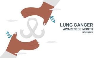 mes de concientización sobre el cáncer de pulmón, noviembre. La cinta blanca está entre las manos. gráfico para banner, póster, fondo y anuncios. Ilustración de vector plano aislado sobre fondo blanco.