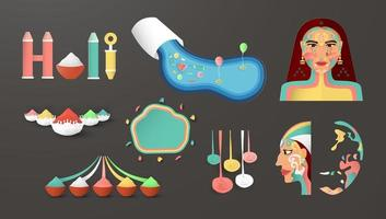 Happy Holi, Festival of Colors. Bundle elements design for decoration, template, banner, poster, greeting card. Vector illustration in paper cut and craft.