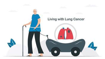 Lung cancer awareness month, November. Person lives with lung cancer. Graphic for banner, poster, background and advertisments. Flat vector illustration isolated on white background.