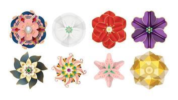 Elementos de flores de origami de papel cortado para decoraciones. vector