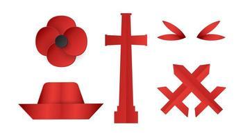 artículos de decoración para el día de anzac. ilustración vectorial en corte de papel, estilo artesanal. vector
