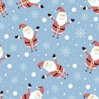 Flat Hand Drawn Happy Santa Christmas Seamless Pattern vector