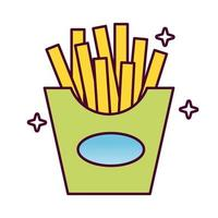 delicioso icono de estilo detallado de comida rápida papas fritas