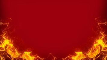 Fire frame on red background